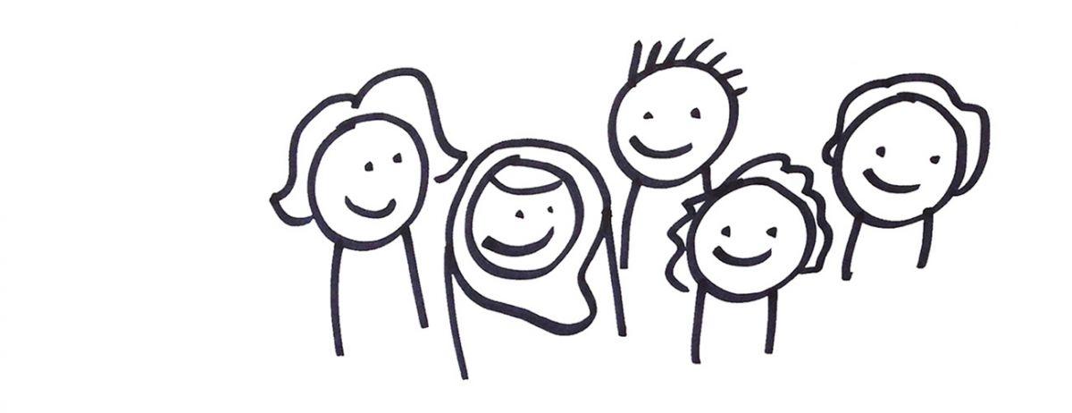 A doodle cartoon of 5 people